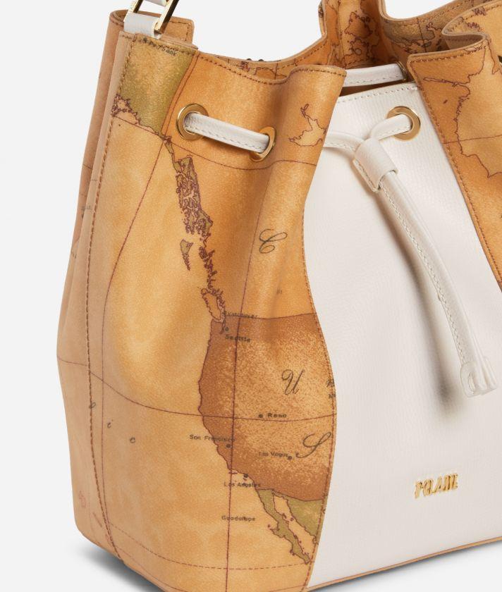 Lotus Flower Bucket Bag in Geo Classic print fabric White