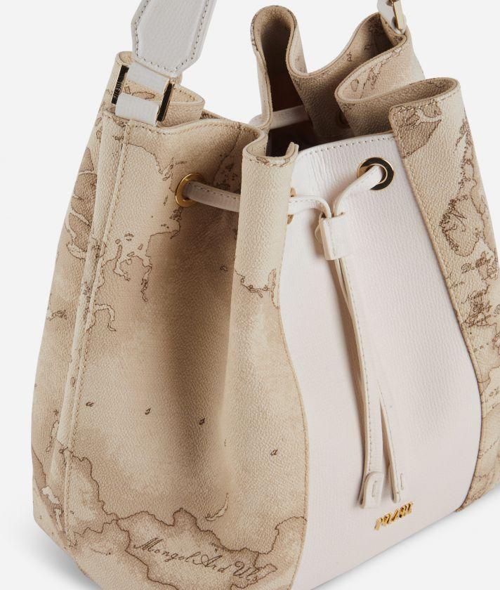 Lotus Flower Bucket Bag in Geo Safari print fabric Beige