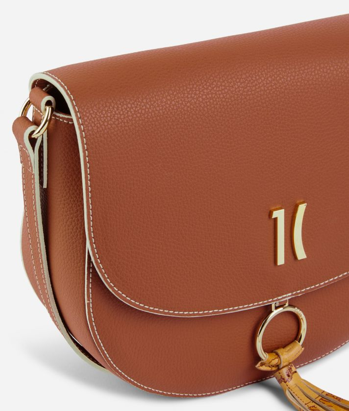 Pacific Crossbody bag in grainy cowhide leather Brown
