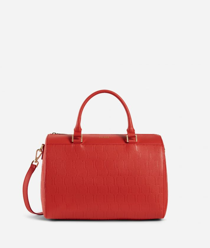Nappa Monogram Boston bag in leather with 1C impression Red