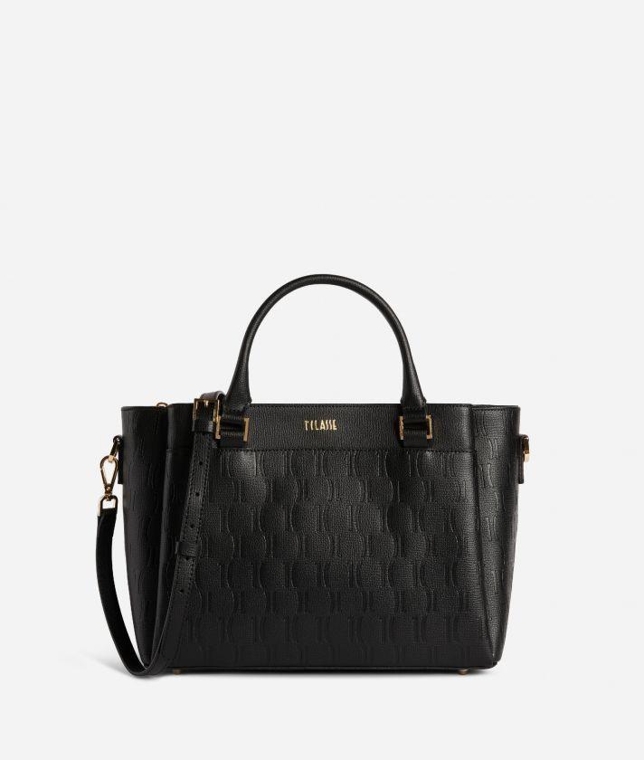 Nappa Monogram Handbag in leather with 1C impression Black