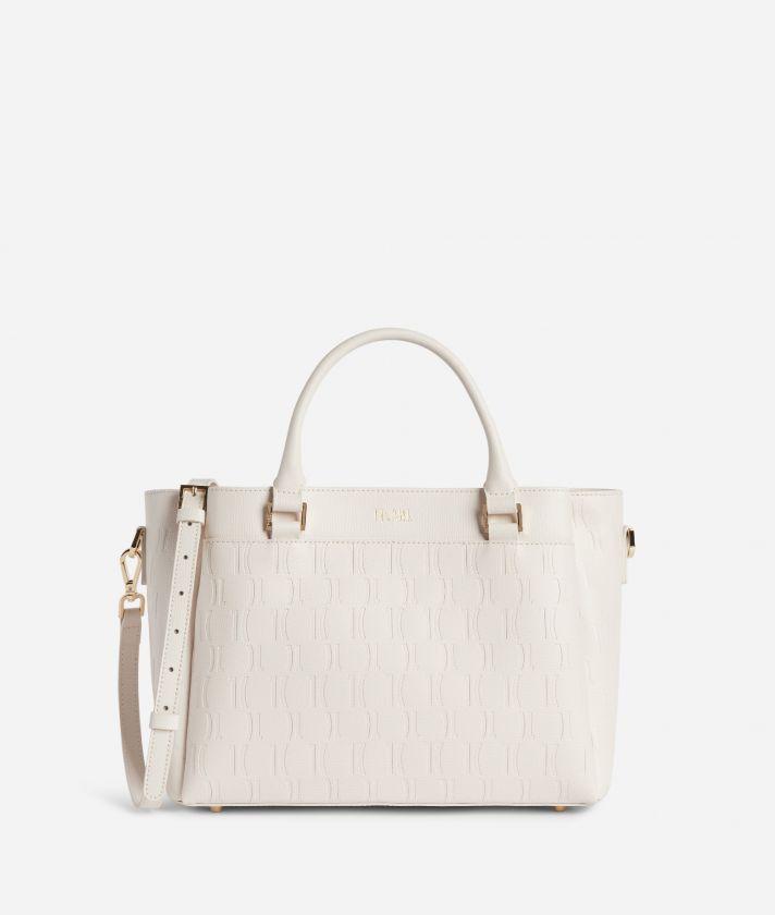 Nappa Monogram Handbag in leather with 1C impression White