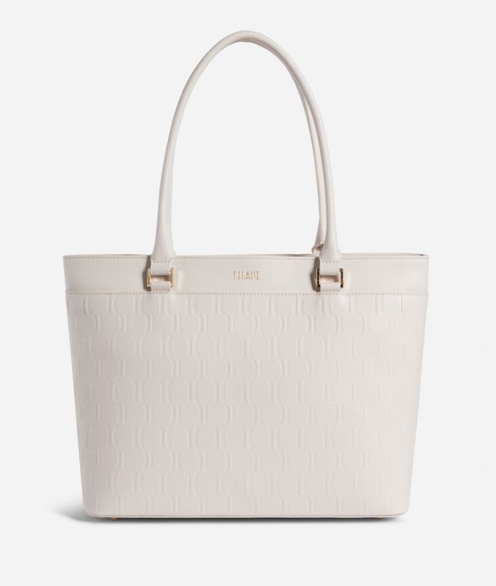 Nappa Monogram Shopping bag in leather with 1C impression White