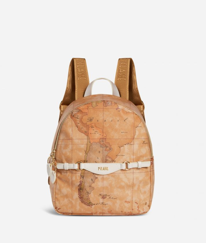 Soft Sound Backpack in soft fabric in Geo Classic print White