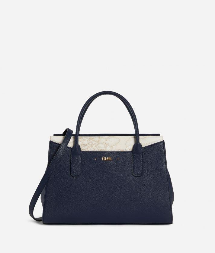 Star City Medium Handbag with Geo White insert Blue