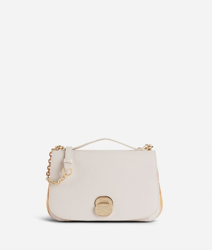 Lady Bag Crossbody bag  in embossed saffiano print fabric Pearl