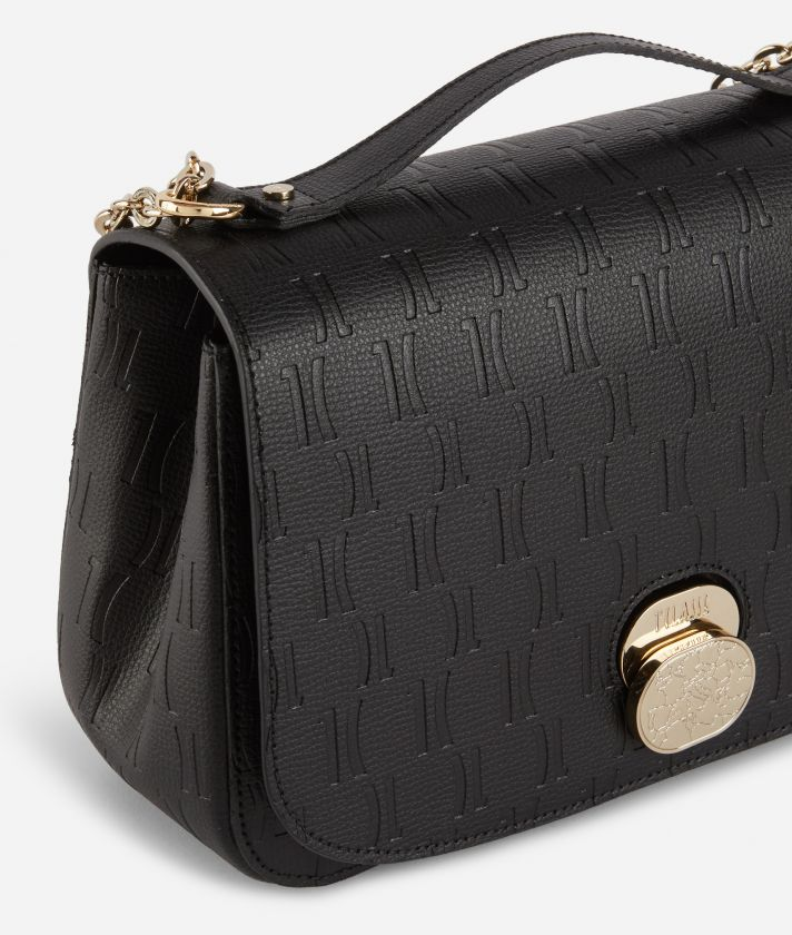 Lady Bag Crossbody bag in grainy cowhide leather with 1C impression Black