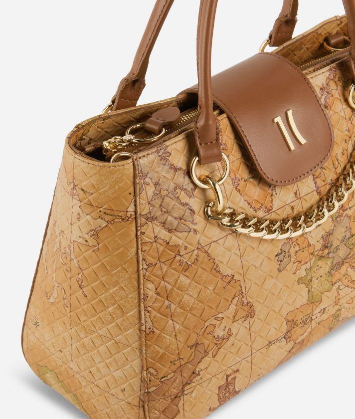 Geo Shine Medium handbag in Geo Classic print nappa