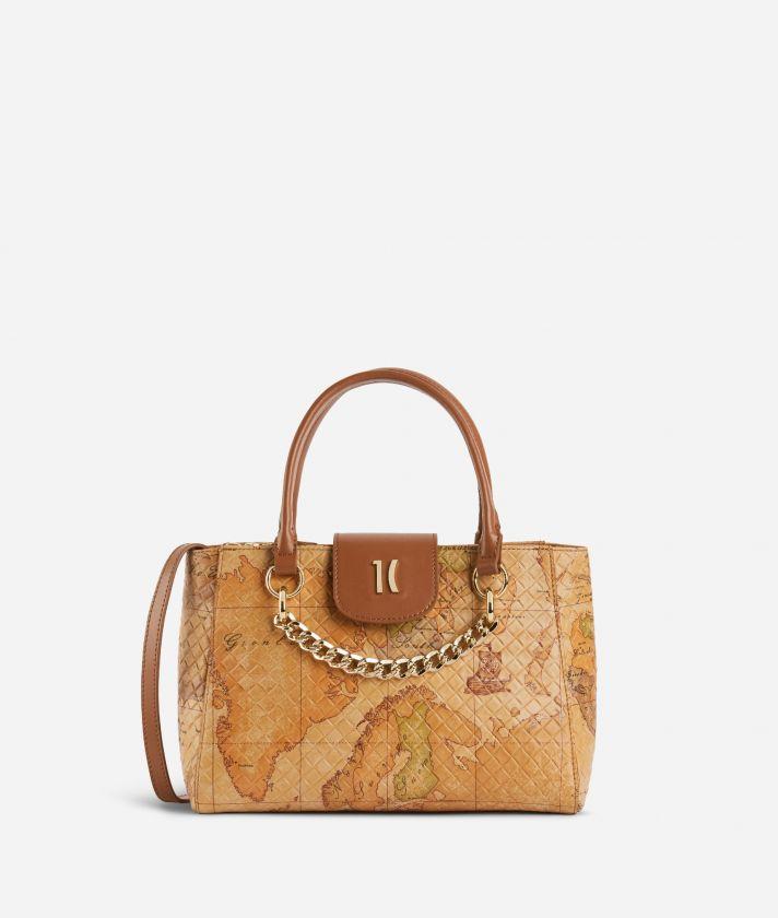 Geo Shine Small handbag in Geo Classic print nappa