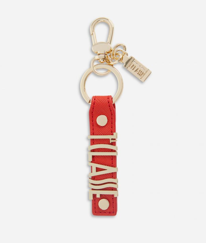 Keyring with logo in embossed fabric Red