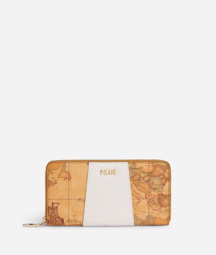 Lotus Flower Ziparound Wallet in Geo Classic print fabric White
