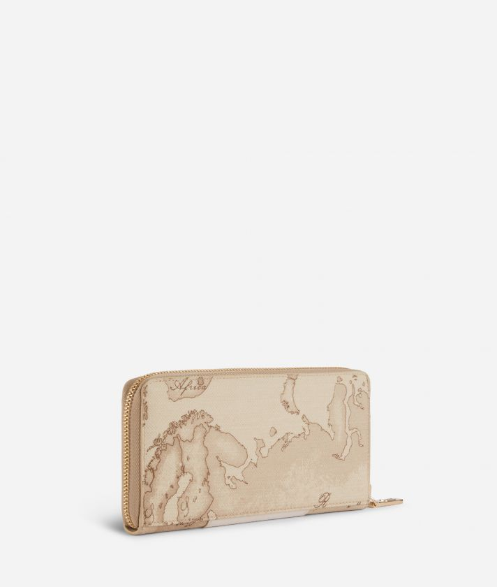 Lotus Flower Ziparound Wallet in Geo Safari print fabric Beige