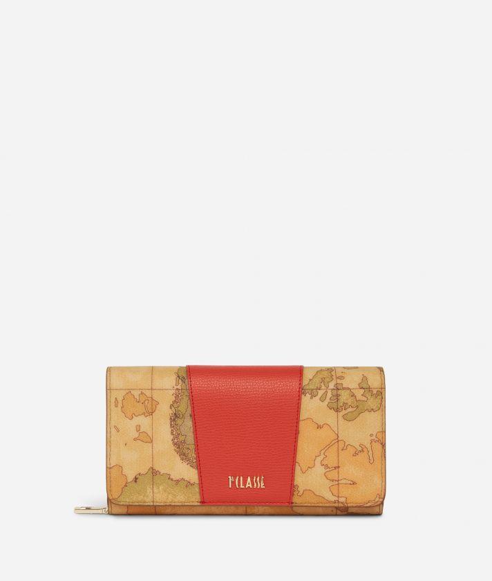 Lotus Flower Wallet in Geo Classic print fabric Red