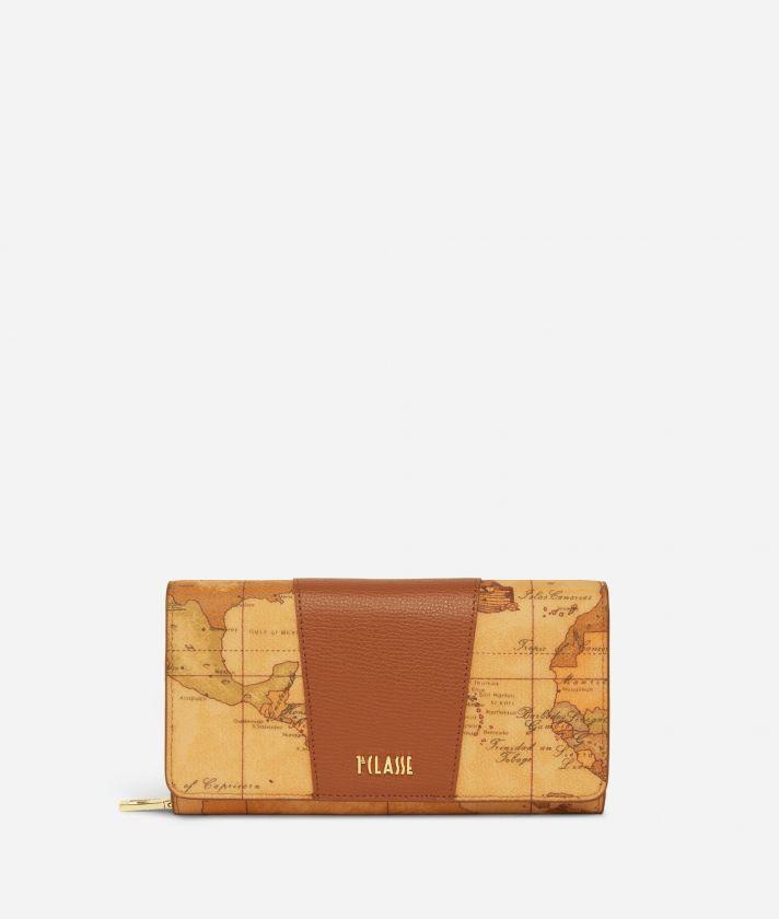 Lotus Flower Wallet in Geo Classic print fabric Brown
