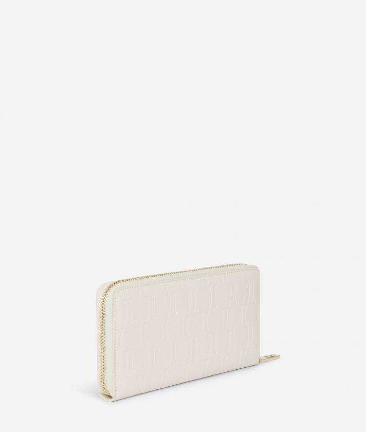 Nappa Monogram Portafoglio Ziparound in pelle granata Bianco