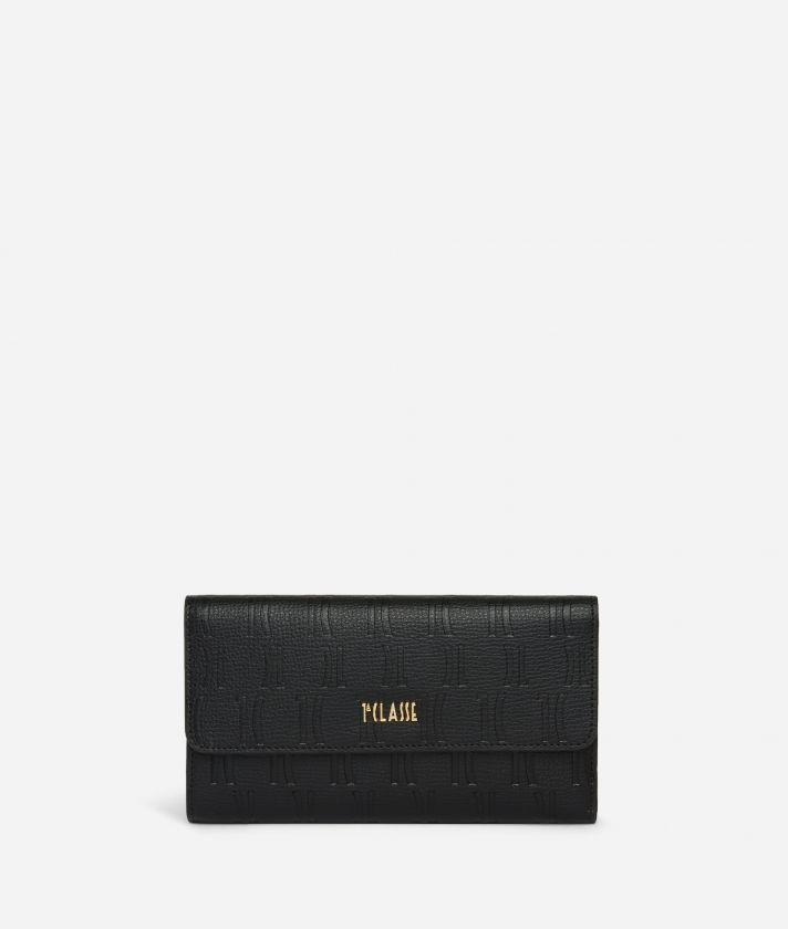 Nappa Monogram Bifolder wallet in leather with 1C impression Black