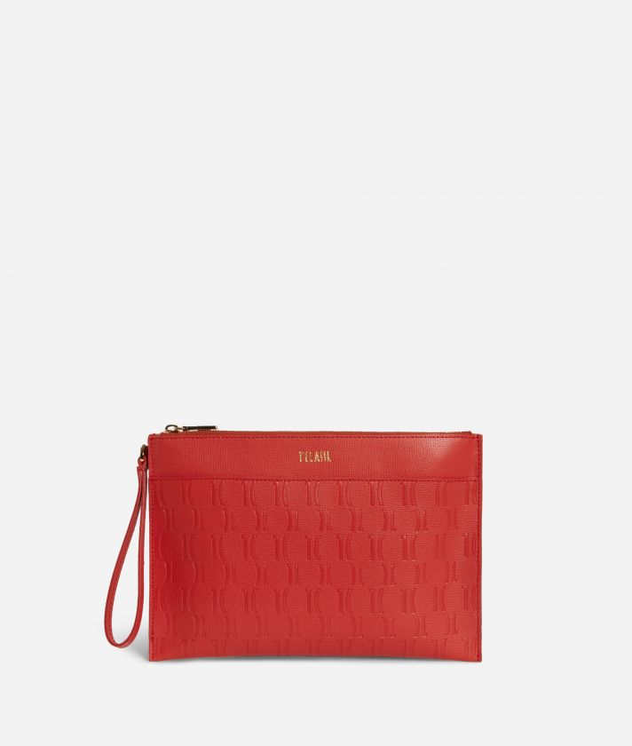 Nappa Monogram Clutcht in leather with 1C impression Red