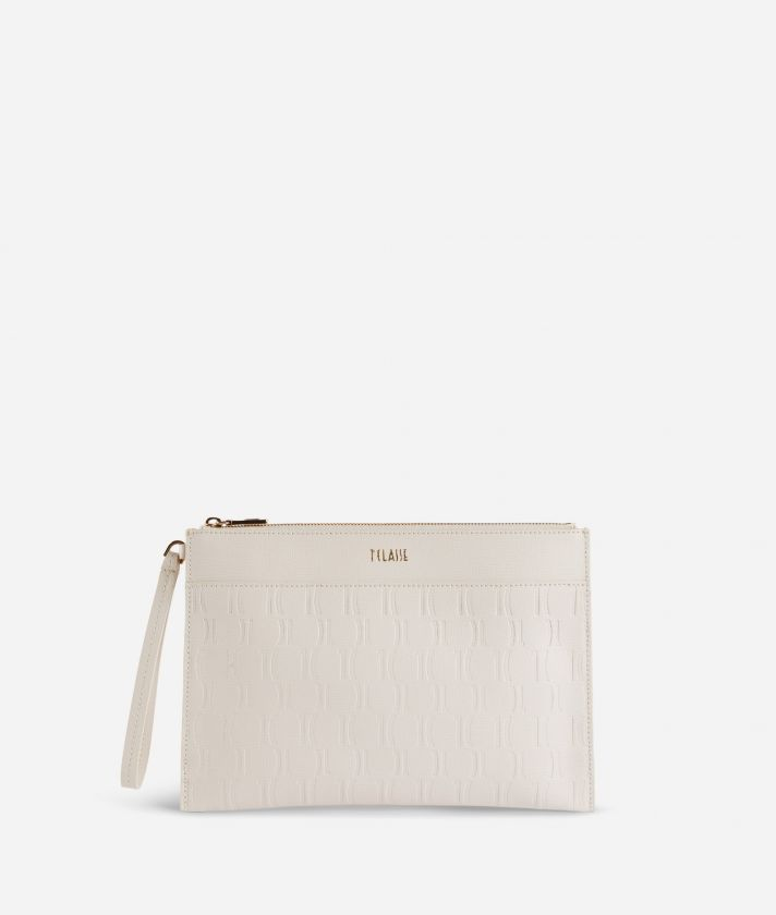 Nappa Monogram Clutcht in leather with 1C impression White