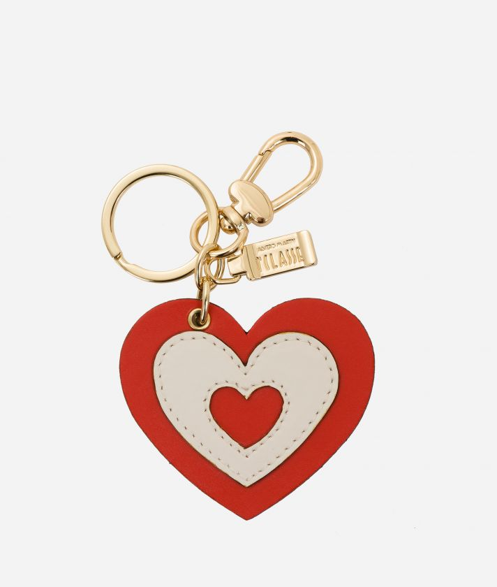 Heart-shape keyring in smooth leather Red and White