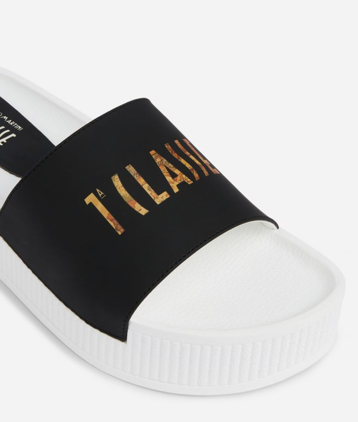 Summer Vibes Sliders with contrasting logo on the band Black