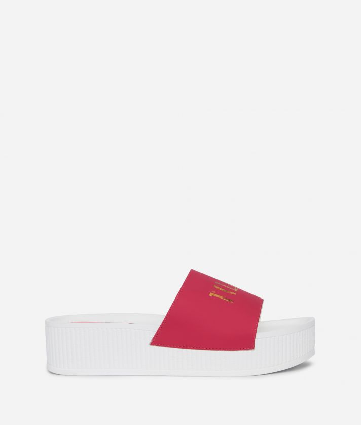 Summer Vibes Sliders with contrasting logo on the band Cyclamen