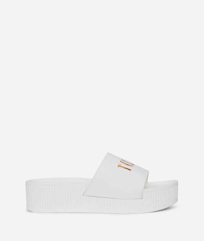 Summer Vibes Sliders with contrasting logo on the band White