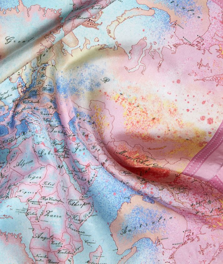 Colorful Geo Foulard da donna in twil di seta stampa Geo Multicolor