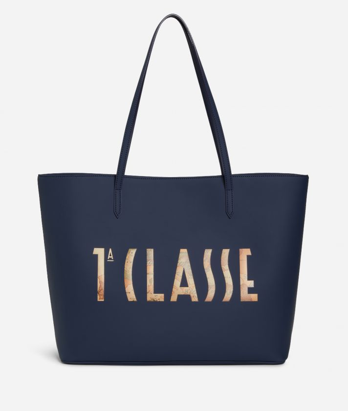 Summer Vibes Shopping Bag with maxi logo 1a Classe Navy Blue
