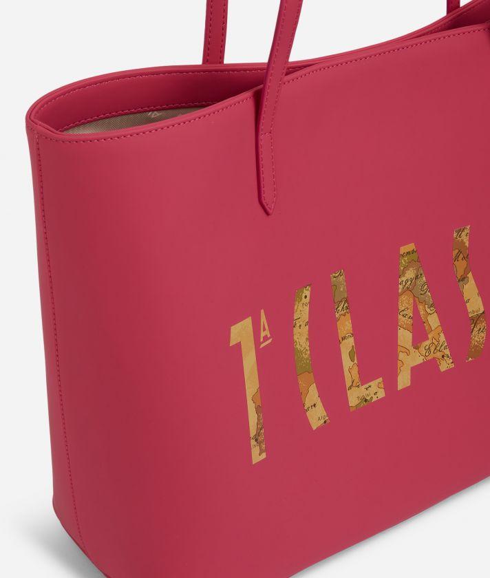 Summer Vibes Shopping Bag with maxi logo 1a Classe Cyclamen