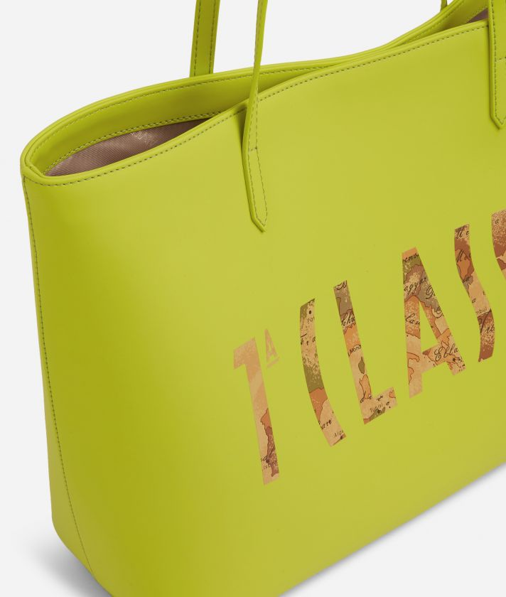 Summer Vibes Shopping Bag with maxi logo 1a Classe Lime Green
