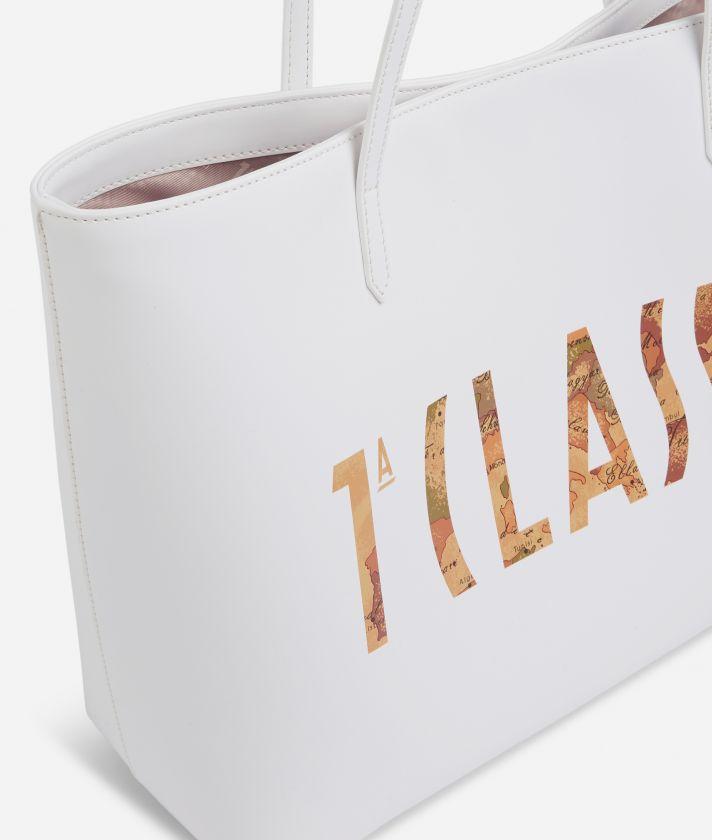 Summer Vibes Borsa Shopping con maxi logo 1a Classe Bianca