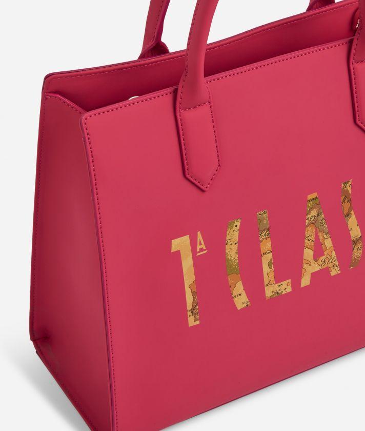 Summer Vibes Handbag with shoulder strap and maxi logo 1a Classe Cyclamen