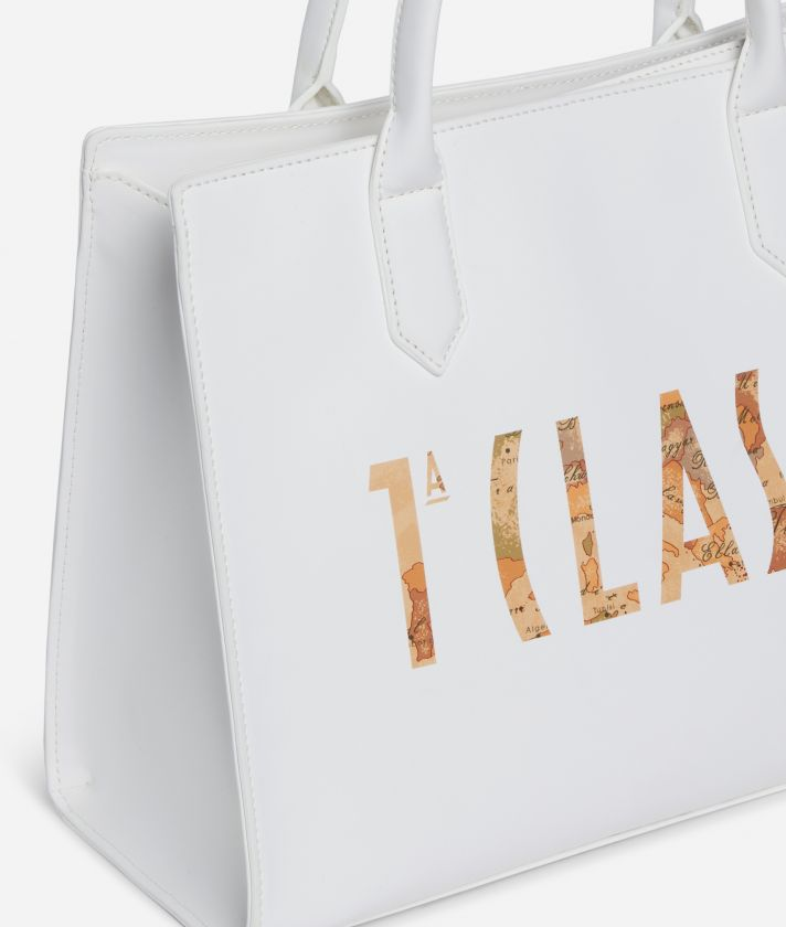 Summer Vibes Handbag with shoulder strap and maxi logo 1a Classe White