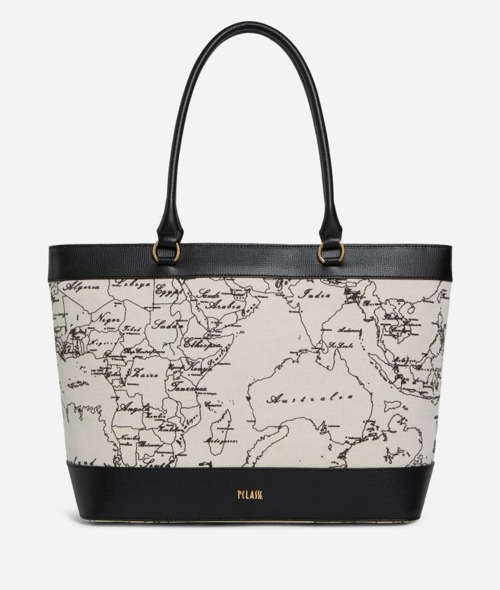 Geo Écru Borsa Shopping in lino e pelle nera