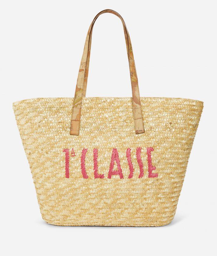 Pool Party Raffia shopping bag with maxi logo 1a Classe Cyclamen