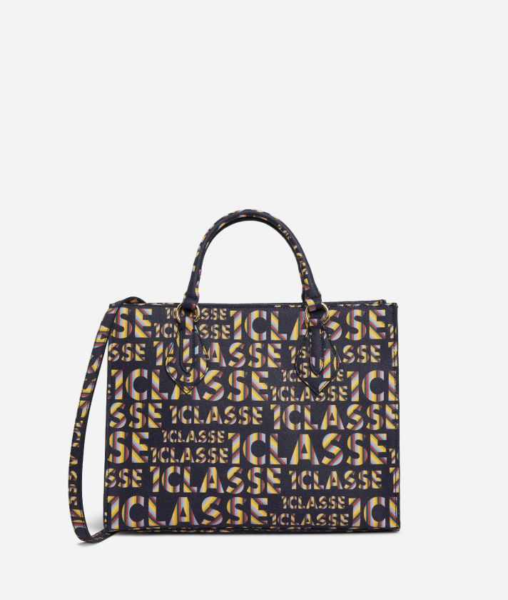 Logo Power Hand Bag with shoulder strap all-over 1a Classe logo print Midnight Blue