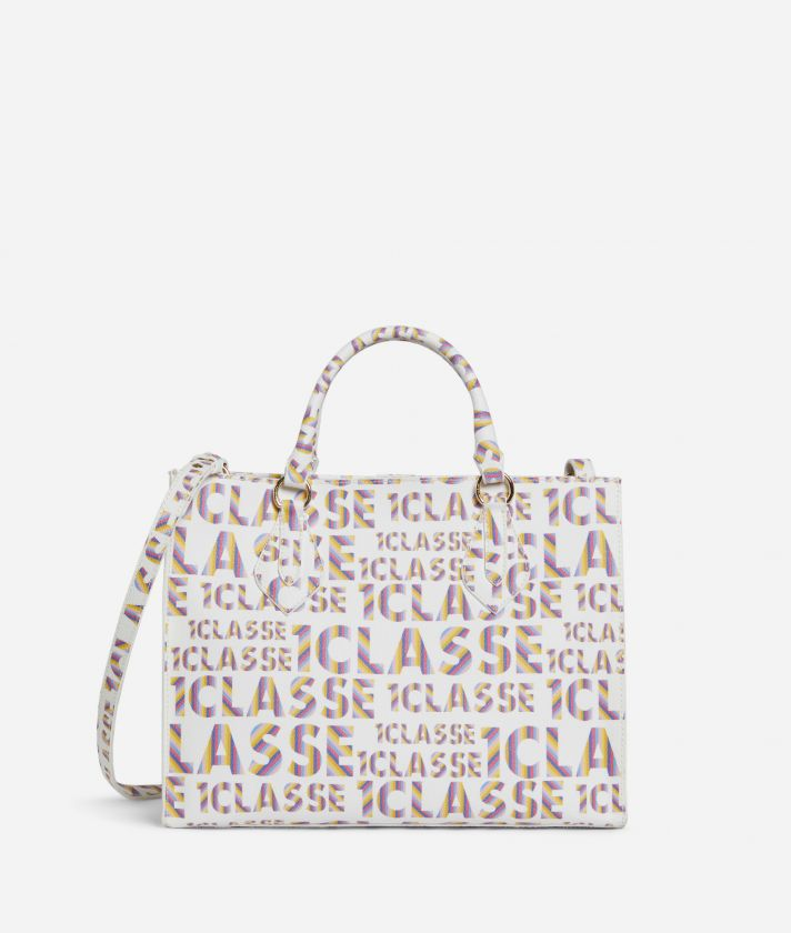 Logo Power Hand Bag with shoulder strap all-over 1a Classe logo print White
