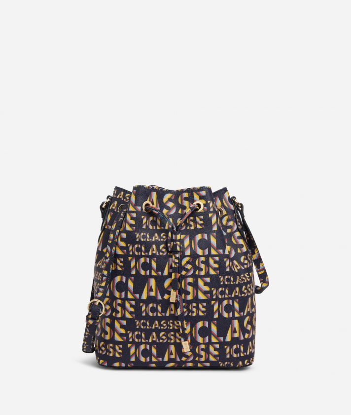 Logo Power Bucket bag with shoulder strap all-over 1a Classe logo print Midnight Blue
