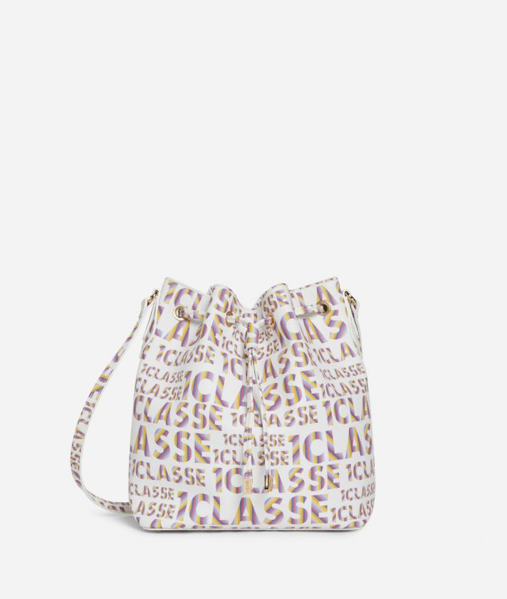 Logo Power Bucket bag with shoulder strap all-over 1a Classe logo print White