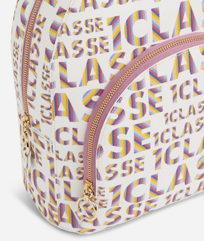 Logo Power Backpack with all-over 1a Classe logo print White