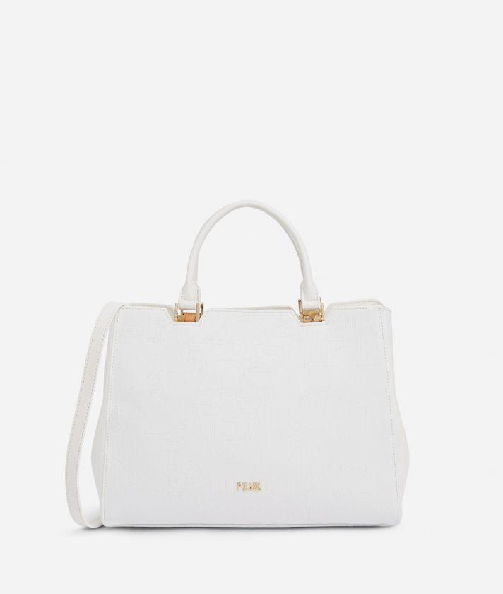 Dream Geo Handbag with shoulder strap White