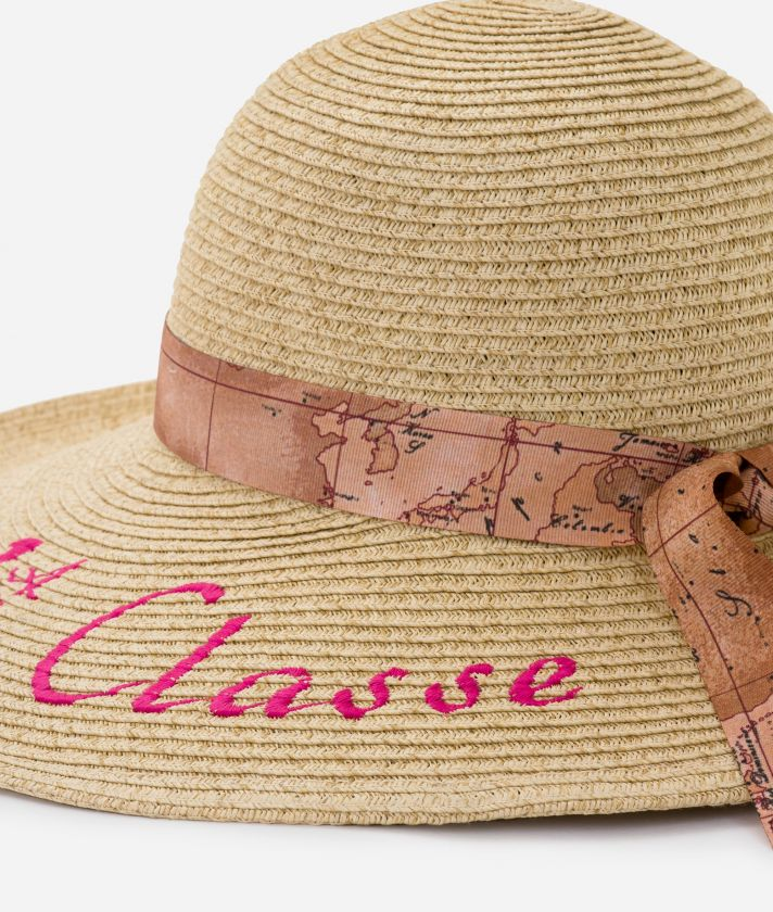 Pool Party straw hat with ribbon in Geo Classic and maxi logo 1a Classe Cyclamen