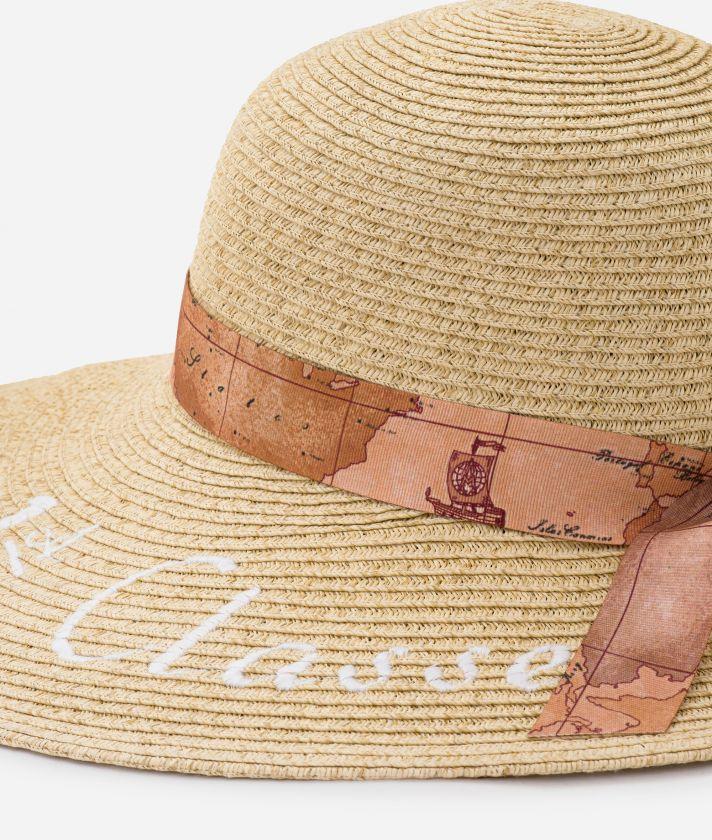 Pool Party Cappello in paglia con nastro Geo Classic e maxi logo 1a Classe Bianco