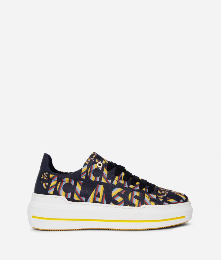 Logo Power Woman's Sneakers with all-over 1a Classe logo print Midnight Blue