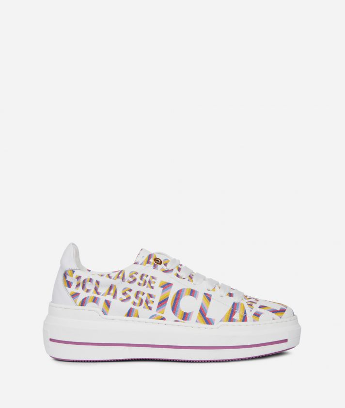 Logo Power Woman's Sneakers with all-over 1a Classe logo print White