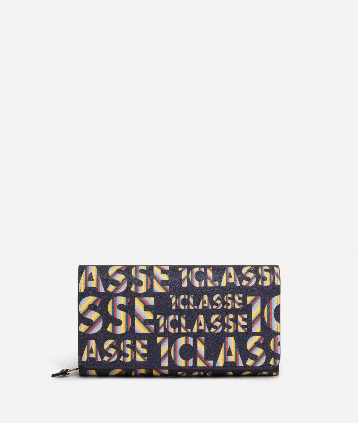 Logo Power woman's Wallet with all-over 1a Classe logo print Midnight Blue