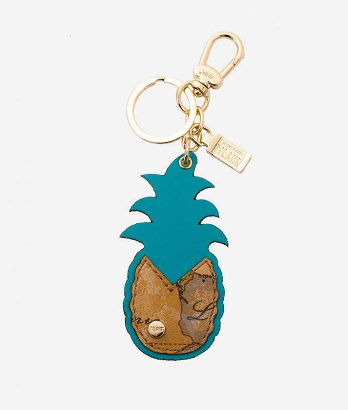 Portachiavi Ananas in pelle e nappa Geo Blu Pavone