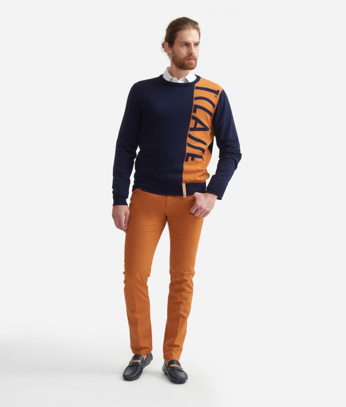 Cotton crewneck sweater with jacquard 1A Classe logo Blue