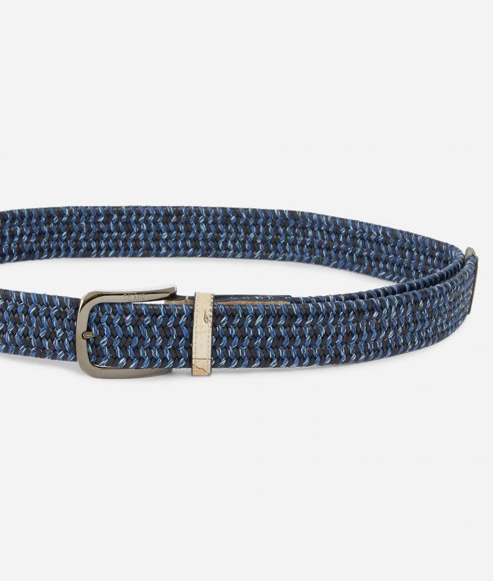 Cintura in pelle  lavorazione intreccio Blu