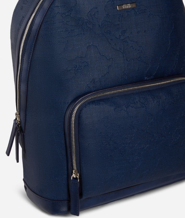 Backpack in canvas with map imprint Blue